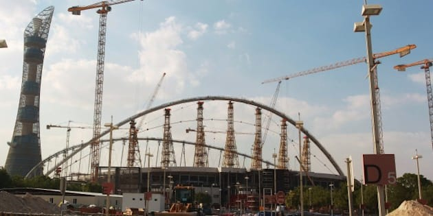 A general view taken on November 13, 2014 shows Khalifa Stadium in Doha which is undergoing complete renovation in preparation to host some of the matches for the 2022 World Cup in Qatar. Football's world governing body FIFA has cleared Qatar and Russia of corruption and ruled out a re-vote for the 2018 and 2022 World Cup tournaments despite widespread allegations of wrongdoing. AFP PHOTO/STR        (Photo credit should read STR/AFP/Getty Images)