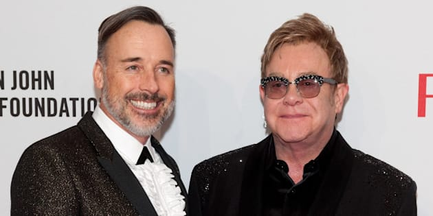 NEW YORK, NY - OCTOBER 28:  Elton John (R) and David Furnish attend the Elton John AIDS Foundation's 13th Annual An Enduring Vision Benefit at Cipriani Wall Street on October 28, 2014 in New York City.  (Photo by D Dipasupil/FilmMagic)