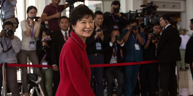 NAYPIDAW, BURMA - NOVEMBER 13: Korean President Park Geun-Hye arrives on the second day of the ASEAN summit on November 13, 2014 in Naypyidaw, Burma. The Burmese capitol of Naypyidaw is hosting the 25th Association of Southeast Asian Nations (ASEAN) summit as world leaders including US President Barack Obama, Thai Premier Gen. Prayuth Chan-Ocha, Indonesian President Joko Widodo and Indian Premier Narendra Modi will be in attendance.   (Photo by Paula Bronstein/Getty Images)