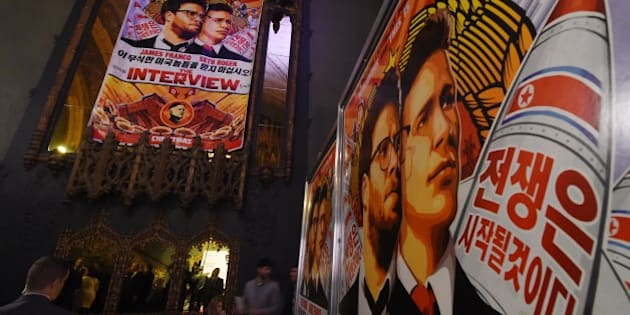 Movie posters for the premiere of the film 'The Interview' at The Theatre at Ace Hotel in Los Angeles, California on December 11, 2014.   The film, starring US actors Seth Rogen and James Franco, is a  comedy about a CIA plot to assassinate its leader Kim Jong-Un, played by Randall Park.  North Korea has vowed 'merciless retaliation' against what it calls a 'wanton act of terror' -- although it has denied involvement in a massive cyber attack on Sony Pictures, the studio behind the film.                    AFP PHOTO/STR        (Photo credit should read -/AFP/Getty Images)