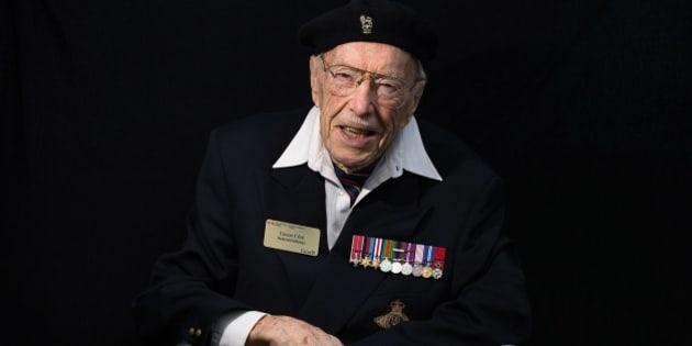 Canadian WWII veteran Ernest Cote poses on June 5, 2014 in Courseulles-sur-mer, Normandy. AFP PHOTO / JOEL SAGET        (Photo credit should read JOEL SAGET/AFP/Getty Images)