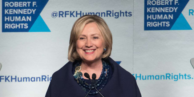NEW YORK, NY - DECEMBER 16:  Event honoree Hillary Rodham Clinton speaks on stage during the 2014 Robert F. Kennedy Ripple Of Hope Awards at the New York Hilton on December 16, 2014 in New York City.  (Photo by Mike Pont/FilmMagic)