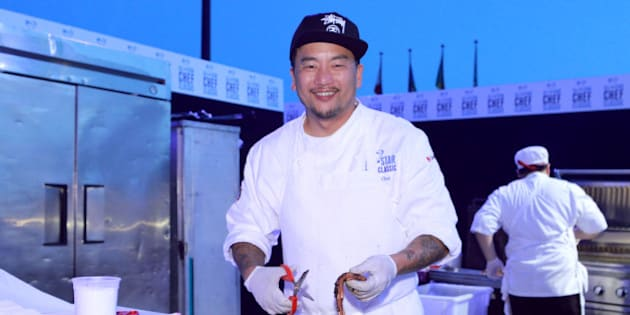 LOS ANGELES, CA - MARCH 22: Chef Roy Choi at the All-Star Chef Classic - Grill And Chill Presented By dineLA And Stella Artois at L.A. LIVE on March 22, 2014 in Los Angeles, California.  (Photo by Rebecca Sapp/Getty Images for AEG)