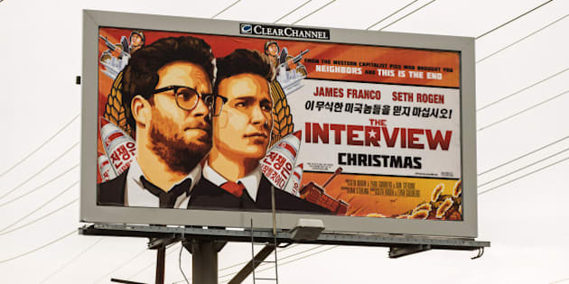 LOS ANGELES, CA - DECEMBER 19:  A billboard for the film 'The Interview' is displayed December 19, 2014 in Venice, California. Sony has canceled the release of the film after a hacking scandal that exposed sensitive internal Sony communications, and threatened to attack theaters showing the movie.  (Photo by Christopher Polk/Getty Images)