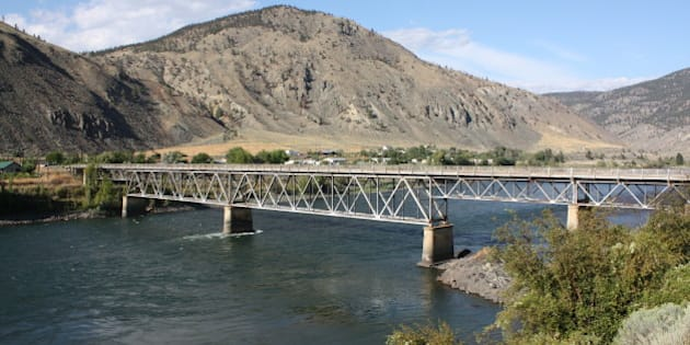 Historic Old Spences Bridge over the Thompson River in Spences Bridge, BC, Canada.   Also known as the Rattlesnake Bridge.