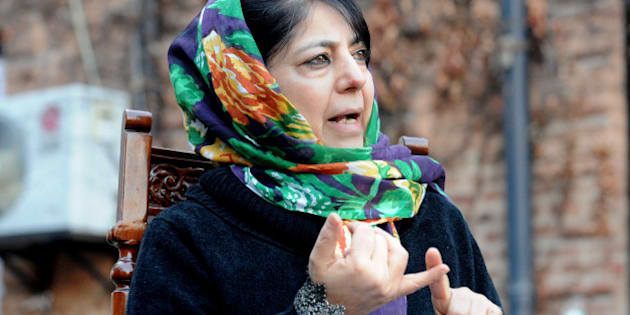 Kashmir's People's Democratic Party (PDP) President Mehbooba Mufti addresses a press conference on the execution of Kashmiri separatist, Mohammed Afzal Guru, in Srinagar on February 10, 2013.   Mufti condemned the hanging of Muhammad Afzal Guru, a Kashmiri Muslim who was convicted of involvement in a deadly 2001 attack on the Indian parliament, in New Delhi's Tihar jail where he had been lodged for more than 10 years.  AFP PHOTO/Rouf BHAT        (Photo credit should read ROUF BHAT/AFP/Getty Images)