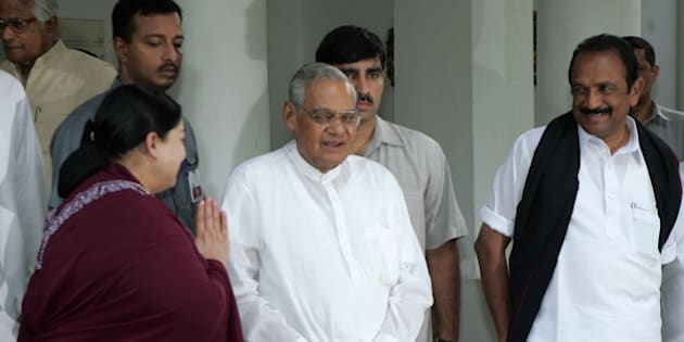 India's main opposition National Democratic Alliance (NDA) and United National Progressive Alliance (UNPA) leaders J. Jayalalitha of the AIADMK, left, Atal Bihari Vajpayee of the BJP, center, and Vaiko of the MDMK, look on after a meeting in New Delhi, India, Friday, June 22, 2007. President APJ Abdul Kalam has decided not to contest the presidential election, TDP leader Rammohan Rao said Friday, according to a news agency. The NDA and UNPA have been making efforts to field Kalam as their presidential candidate. (AP Photo/Gurinder Osan)