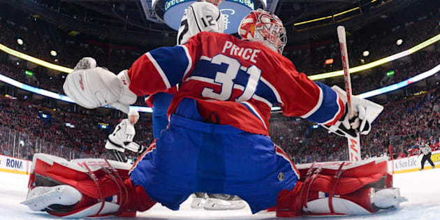 MONTREAL, QC - DECEMBER 12: Carey Price #31 of the Montreal Canadiens makes a blocker save against Marian Gaborik #12 of the Los Angeles Kings in the NHL game at the Bell Centre on December 12, 2014 in Montreal, Quebec, Canada. (Photo by Francois Lacasse/NHLI via Getty Images)