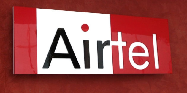 The Bharti Airtel Ltd. logo is displayed at the company's office in Gurgaon, India, on Thursday, Sept. 16, 2010. Bharti Airtel Ltd. is in talks with other Indian mobile operators to form an alliance to offer third-generation services nationwide. Photographer: Pankaj Nangia/Bloomberg via Getty Images