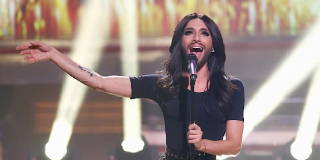 COLOGNE, GERMANY - DECEMBER 07:  Conchita Wurst performs onstage during 2014! Menschen, Bilder, Emotionen - RTL Jahresrueckblick show on December 7, 2014 in Cologne, Germany.  (Photo by Andreas Rentz/Getty Images)