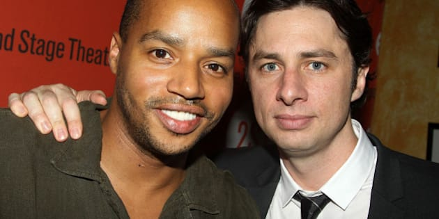 NEW YORK - AUGUST 12:  Donald Faison (L) and Zach Braff (costars of 'Scrubs') pose at the 'Trust' Off-Broadway opening night after party at Trattoria Dopo Teatro on August 12, 2010 in New York City.  (Photo by Bruce Glikas/FilmMagic)