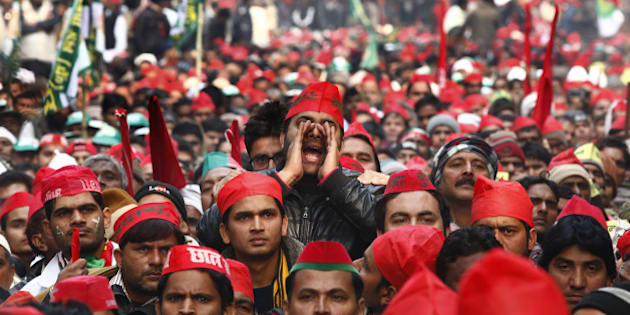 NEW DELHI, INDIA - DECEMBER 22: Samajwadi party supporters during the protest by Janta Parivar against Modi Government at Jantar Mantar on December 22, 2014 in New Delhi, India. (Photo by Virendra Singh Gosain/Hindustan Times via Getty Images)