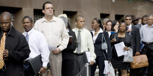 Job applicants wait in line to interview with New York utility company Con Edison on Thursday, June 7, 2007. The Labor Department reports on the nation's unemployment claims on Thursday, June 15. Applications for unemployment benefits totaled 311,000 last week, unchanged from the previous week, the Labor Department reported Thursday, JUne 14, 2007. The fact that claims remained at the same level was better than the small increase analysts had been expecting and supported their view that the job market has held up remarkably well in the face of a yearlong economic slowdown. (AP Photo/Mark Lennihan)