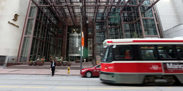 TORONTO, ON - NOVEMBER 4: Exterior and detailed pics of Nova Scotia Bank  and the Scotiabank tower on King St near Bay St   in Toronto on  November 4, 2014 Vince Talotta/Toronto Star        (Vince Talotta/Toronto Star via Getty Images)