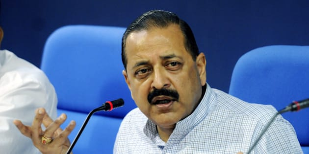 NEW DELHI, INDIA - SEPTEMBER 9: Jitendra Singh Minister of State for Personnel, Public Grievances and Pensions addressing a press conference  to highlight the work undertaken by the Ministry of Personnel, Public Grievances and Pensions in the first three months of his assumption of charge on September 9, 2014 in New Delhi, India.  (Photo by Mohd Zakir/Hindustan Times via Getty Images)