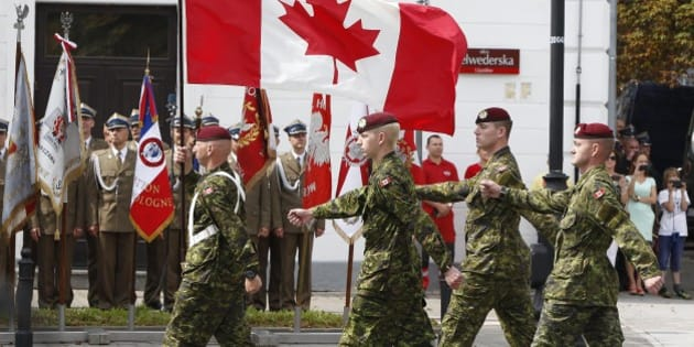 0915bf336307 A military unit from Canada marches during a military parade marking Polish Armed  Forces Day