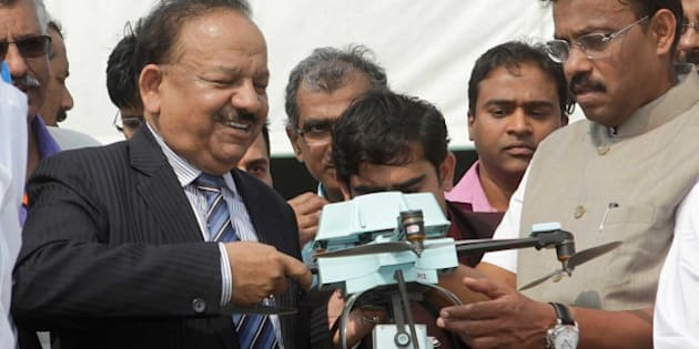 MUMBAI, INDIA - JANUARY 3: Union Minister for Science and Technology, Dr. Harsh Vardhan during the 102nd Indian Science Congress exhibition being held at Bandra-Kurla Complex on January 3, 2015 in Mumbai, India. The 102nd Indian Science Congress 2015 in association with the University of Mumbai looks forward to powering possibilities for the future of advanced safety, healthcare, agriculture, environment, education, industries and entrepreneurs. A list of programmes scheduled for the three days from 3 to 7 January 2015. (Photo by Kalpak Pathak/Hindustan Times via Getty Images)