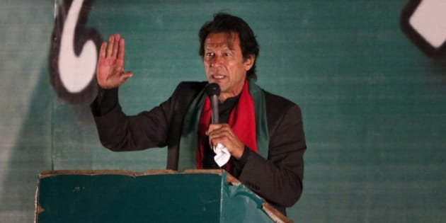 Pakistan's cricketer-turned-politician Imran Khan addresses his supporters during an anti-government rally in Islamabad, Pakistan, Sunday, Nov. 30, 2014. Thousands of supporters of Khan rallied in the capital Islamabad demanding Prime Minister Nawaz Sharif's ouster over alleged fraud in last year's election. (AP Photo/Anjum Naveed)