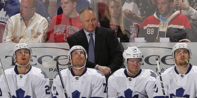 SUNRISE, FL - DECEMBER 28: Head Coach Randy Carlyle of the Toronto Maple Leafs watches the action from the bench during the game against the Florida Panthers at the BB&T Center on December 28, 2014 in Sunrise, Florida. (Photo by Eliot J. Schechter/NHLI via Getty Images)