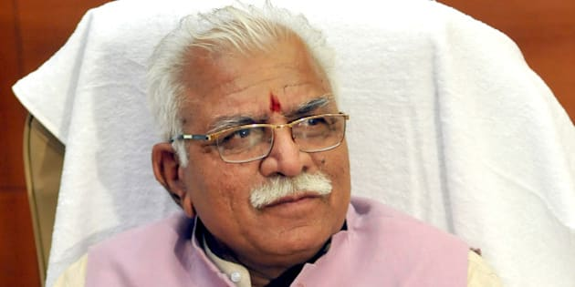 CHANDIGARH, INDIA - OCTOBER 27: Haryana Chief Minister, Manohar Lal Khattar takes charge at Chief Minister office on October 27, 2014 in Chandigarh, India. Bharatiya Janata Party leader Manohar Lal Khattar was yesterday sworn-in as the chief minister of Haryana in the presence of Prime Minister Narendra Modi and several top NDA leaders. (Photo by Keshav Singh/Hindustan Times via Getty Images)