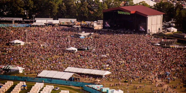 MANCHESTER, TN - JUNE 15:  Aerial view of the Main Stage, 'What Stage', during the 2014 Bonnaroo Music & Arts Festival on June 15, 2014 in Manchester, Tennessee.  (Photo by Douglas Mason/Getty Images)