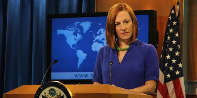 WASHINGTON, DC - APRIL 23: US State Department spokeswoman Jen Psaki speaks at the daily briefing at the State Department in Washington, USA, on April 23, 2014. (Photo by Erkan Avci/Anadolu Agency/Getty Images)