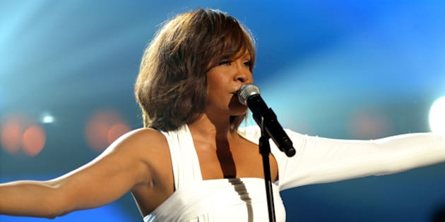 LOS ANGELES, CA - NOVEMBER 22:  Singer Whitney Houston performs onstage at the 2009 American Music Awards at Nokia Theatre L.A. Live on November 22, 2009 in Los Angeles, California.  (Photo by Kevin Winter/AMA2009/Getty Images for DCP)