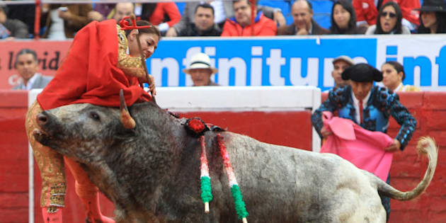 "In this Dec. 28, 2014 photo, Karla de los Angeles, one of Mexico's few female bullfighters, is gored by a bull during a bullfight in Mexico City. The 26-year-old bullfighter who suffered a pair of gashes to the thigh and buttock when she was gored twice by the bull says she is determined to return to the ring by mid-January, two days after she and several others were gored by what she described as a ""very smart"" bull. (AP Photo/Gabino Acevedo, Cuartoscuro.com) MEXICO OUT - NO PUBLICAR EN MEXICO - MANDATORY CREDIT - CREDITO OBLIGATORIO"