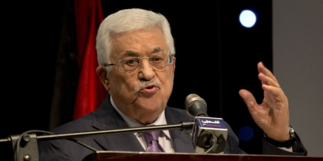 "Palestinian President Mahmoud Abbas speaks during a ceremony of ""Jerusalem In Memory""?? after the meeting with Secretary General of The Organization of The Islamic Conference Iyad Amin Madani, in the West Bank city of Ramallah, Sunday, Jan. 4, 2015. (AP Photo/Majdi Mohammed)"