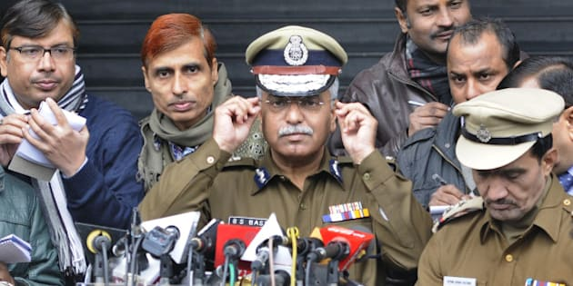 NEW DELHI, INDIA - JANUARY 7: Delhi Police Commissioner Bhim Sain Bassi addressing the media persons at Police Head Quarters on January 7, 2015 in New Delhi, India. Former minister and former United Nations diplomat Shashi Tharoor may be questioned by Delhi police after they opened a murder investigation against unknown persons following the death of his wife Sunanda Pushkar. She was found dead in her five-star hotel room in Delhi in January 2014, after publicly accusing Tharoor of having an extra-marital affair with a Pakistani journalist. (Photo by Sushil Kumar/Hindustan Times via Getty Images)