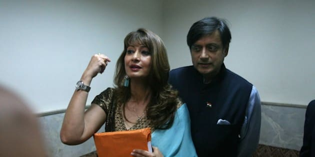 MUMBAI, INDIA - AUGUST 6: (File photo) Indian politician Shashi Tharoor with his wife Sunanda Pushkar Tharoor at Lalit Doshi Memorial Award 2009-2010 at Y.B. Chavan Auditorium, Churchgate on August 6, 2010 in Mumbai, India. Sunanda Pushkar, the 52-year-old industrialist wife of Union HRD minister Shashi Tharoor was found dead on Friday at a seven-star hotel where the couple had checked in together a day earlier, the police said. News of her death emerged late in the evening, coming within two days of her Twitter spat with a Pakistani journalist, Mehr Tarar, over an alleged affair with the minister. Pushkar, who has business interests in Dubai and was the Congress minister's third wife, was found dead in the bedroom of The Leela Palace suite number 345 around 8.15pm. Mehr Tarar, a columnist with Pakistan's Daily Times, reacted to the news of Pushkar's death in two consecutive tweets: What the hell. Sunanda. Oh my God and I just woke up and read this. Im absolutely shocked. This is too awful for words. So tragic I dont know what to say. Rest in peace, Sunanda. (Photo by Hemant Padalkar/Hindustan Times via Getty Images)