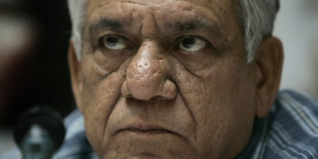Cast member of the film Shoot on Sight, Indian actor Om Puri, at a press conference at a hotel in central London to mark the film's UK release, Tuesday July 22, 2008. Originally scheduled for release on July 11, the date was put back out of respect to the London 7/7 victim's families. (AP Photo/Joel Ryan)