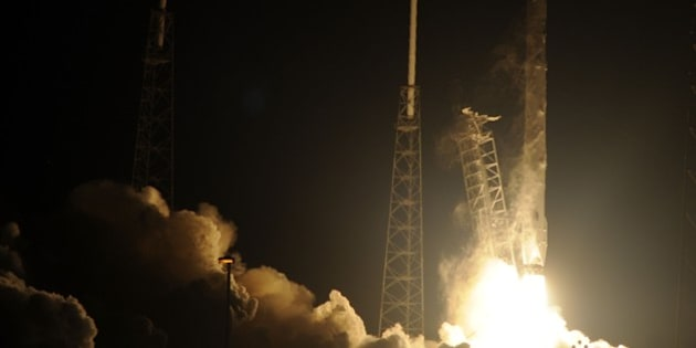 Space X's Falcon 9 rocket launches on January 10, 2015 as it heads to space from pad 40 at Cape Canaveral, Florida, carrying the Dragon CRS5 spacecraft on a resupply mision to the International Space Station (ISS). The Dragon cargo vessel should arrive at the space station at 6:12 am (1112 GMT) on January 12, NASA said. The cargo ship is carrying more than 5,000 pounds (2,268 kilograms) of supplies to the astronauts living in orbit.       AFP PHOTO/BRUCE WEAVER        (Photo credit should read BRUCE WEAVER/AFP/Getty Images)
