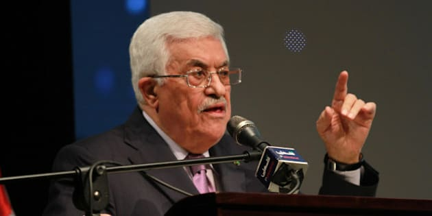 RAMALLAH, WEST BANK - JANUARY 04: Palestinian President Mahmoud Abbas speaks during the opening ceremony of the 'Jerusalem in Memory' exhibition in the West Bank city of Ramallah, on January 04, 2015. (Photo by Issam Rimawi/Anadolu Agency/Getty Images)