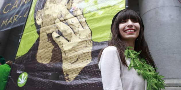 VANCOUVER, BC - APRIL 20:  Jodie Emery, wife of jailed marijuana activist Marc Emery, smiles as she speaks to thousands of enthusiasts gather to celebrate the 19th anniversary of 4/20  April 20, 2014 at the art gallery in downtown Vancouver, British Columbia, Canada. The event, which began in 1995 with a gathering of less than 200 people, has grown into a worldwide celebration.  (Photo by Jeff Vinnick/Getty Images)