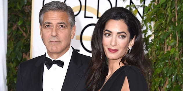 BEVERLY HILLS, CA - JANUARY 11:  Actor George Clooney and lawyer Amal Alamuddin Clooney  arrives at the 72nd Annual Golden Globe Awards at The Beverly Hilton Hotel on January 11, 2015 in Beverly Hills, California.  (Photo by Steve Granitz/WireImage)