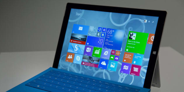 The Microsoft Corp. Surface Pro 3 tablet computer is displayed during an event in New York, U.S., on Tuesday, May 20, 2014. Microsoft Corp. introduced a larger-screen Surface tablet that is thinner and faster than the previous Surface Pro model, its latest attempt to gain share in the market dominated by Google Inc. and Apple Inc. Photographer: Jin Lee/Bloomberg via Getty Images