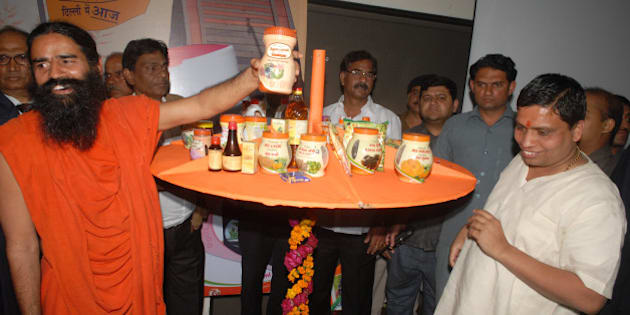 NEW DELHI, INDIA - MARCH 01: Baba Ramdev announcing the availability of Patanjali Ayurveda Products in open market through one lac Swadeshi Kendras, at a press conference, at Constitution club  in New delhi on Thursday, 01 March, 2012. (Photo by Parveen Negi/India Today Group/Getty Images)