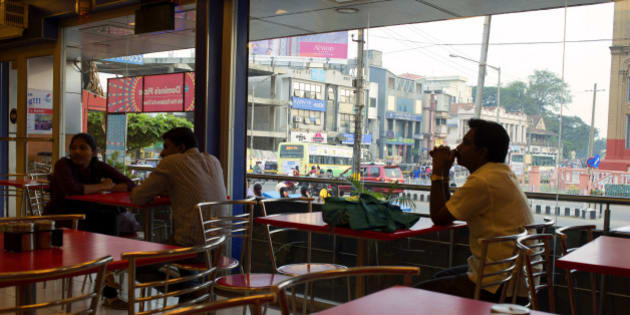 MYSORE, KARNATAKA, INDIA - 2014/12/28: A view from inside a restaurant in Mysore. (Photo by Subhendu Sarkar/LightRocket via Getty Images)