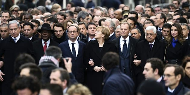 From left : Israeli Prime Minister Benjamin Netanyahu, Malian President Ibrahim Boubacar Keita, French President Francois Hollande, German Chancellor Angela Merkel, European Union President Donald Tusk, Palestinian president Mahmud Abbas, and Jordan's Queen Rania along with other officials and heads of states take part in a Unity rally 'Marche Republicaine' on January 11, 2015 in Paris in tribute to the 17 victims of the three-day killing spree. The killings began on January 7 with an assault on the Charlie Hebdo satirical magazine in Paris that saw two brothers massacre 12 people including some of the country's best-known cartoonists and the storming of a Kosher supermarket on the eastern fringes of the capital which killed 4 local residents.  AFP PHOTO / ERIC FEFERBERG        (Photo credit should read ERIC FEFERBERG/AFP/Getty Images)