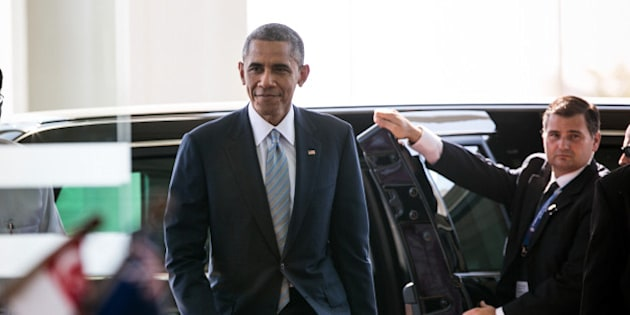 NAYPYIDAW, MYANMAR - NOVEMBER 13: U.S President Barack Obama arrives for the second day of the ASEAN summit on November 13, 2014 in Naypyidaw, Myanmar. The capitol of Naypidaw is hosting the 25th Association of Southeast Asian Nations (ASEAN) summit as world leaders including Obama, Thai Premier Gen. Prayuth Chan-Ocha, Indonesian President Joko Widodo and Indian Premier Narendra Modi will be in attendance.  (Photo by Paula Bronstein/Getty Images)