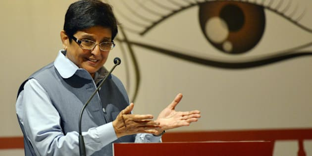 NEW DELHI, INDIA  NOVEMBER 23: Social activist Kiran Bedi addressing the World Hindu Congress 2014 in New Delhi.(Photo by Ramesh Sharma/India Today Group/Getty Images)