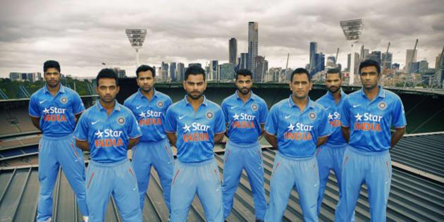 MELBOURNE, AUSTRALIA - JANUARY 15:  In this handout photo provided by SDP Media, members of the Indian cricket team Umesh Yadav, Rohit Sharma, R.Jadeja, Shikhar Dhawan, Ajinkya Rahane, Virat Kohli, MS Dhoni, R.Ashwin are seen during the unveiling of the Indian team One Day International kit at Melbourne Cricket Ground on January 15, 2015 in Melbourne, Australia.  (Photo by SDP Media via Getty Images)
