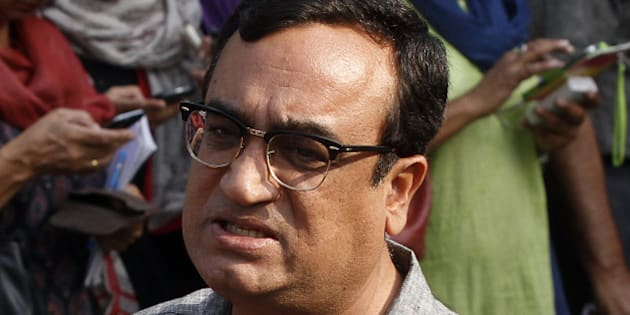 NEW DELHI, INDIA - MAY 16: Congress leader Ajay Maken interact with media person before press conference of Congress President Sonia Gandhi and Vice - President Rahul Gandhi at AICC headquarter on May 16, 2014 in New Delhi, India. Accepting responsibility for the partys worst-ever defeat, Sonia Gandhi and Rahul Gandhi conceded that the mandate in the Lok Sabha polls was clearly against the Congress. In its worst ever performance in Lok Sabha polls ruling Congress party is reduced to 44 seats from 206 seats it won in 2009. (Photo by Sanjeev Verma/Hindustan Times via Getty Images)