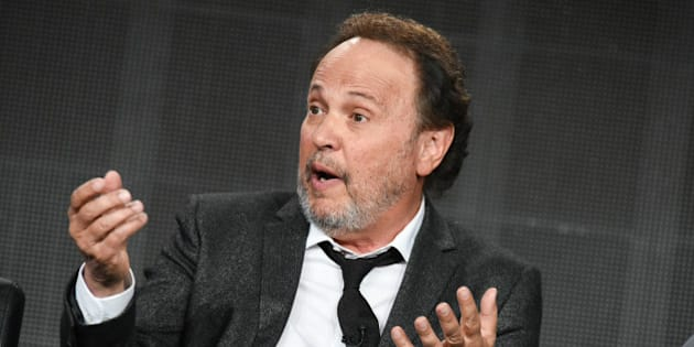 """Billy Crystal  speaks on stage during the """"The Comedians"""" panel at the FX 2015 Winter TCA on Sunday, Jan. 18, 2015, in Pasadena, Calif. (Photo by Richard Shotwell/Invision/AP)"""