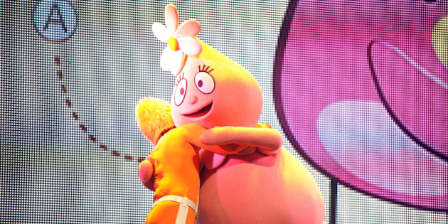DJ Lance Rock and Foofa perform onstage at Yo Gabba Gabba! Live!: Get The Sillies Out! 50+ city tour kick-off performance on Thanksgiving weekend at Nokia Theatre L.A. Live on Friday Nov. 23, 2012 in Los Angeles. (Photo by John Shearer/Invision for GabbaCaDabra, LLC./AP Images)