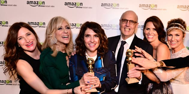 WEST HOLLYWOOD, CA - JANUARY 11:  (L-R) Actress Kathryn Hahn, actress Judith Light, show creator/director Jill Soloway, actor Jeffrey Tambor, actress Amy Landecker, and actress Melora Hardin attend the 'Transparent' Cast and Crew Golden Globes Viewing Party at The London West Hollywood on January 11, 2015 in West Hollywood, California.  (Photo by Jerod Harris/Getty Images for Amazon Studios)