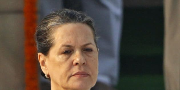 FILE- In this Oct. 2, 2010 file photo, India's Congress party President Sonia Gandhi visits the Mahatma Gandhi memorial in New Delhi, India.  India's opposition Congress party leader Gandhi was hospitalized Thursday, Dec. 18, 2014, for treatment of lower respiratory tract infection, a party official said. (AP Photo/File)