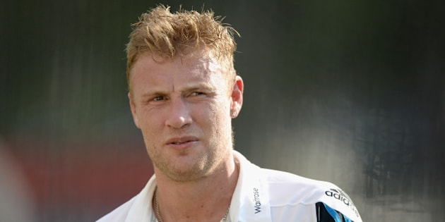 BRISBANE, AUSTRALIA - JANUARY 18:  Former England cricketer Andrew Flintoff during a nets session at The Gabba on January 18, 2015 in Brisbane, Australia.  (Photo by Gareth Copley/Getty Images)