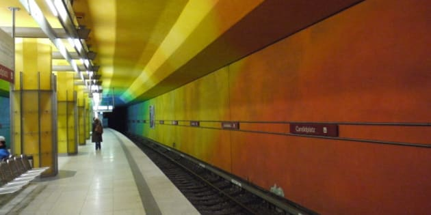 A station on the Munich U-Bahn. Probably the most colourful railway station I've seen..